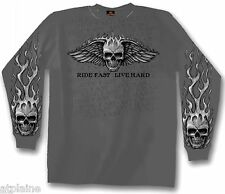 T-Shirt ML FLAME WINGED SKULL - Taille XL - Style BIKER HARLEY
