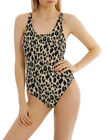 NEW Cozi by Jennifer Hawkins 80S Scoop Back One Piece Print Taupe