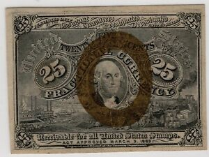 Fr.1286 2nd issue 25¢ Fractional Currency Note w/S-18-63 surcharge- Ch. AU