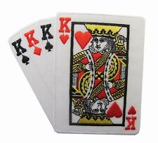 #2524B Poker Card Hand 4 King Embroidery Iron On Applique Patch