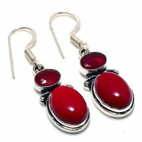 """Red Coral Ruby Gemstone Handmade Ethnic Style Jewelry Earring 1.77"""" VS-282"""