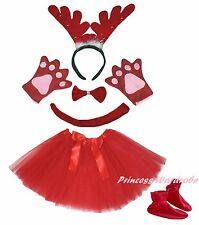 Xmas Red Ring Reindeer Headband Bow Tail Paw Shoes Skirt 6pc Kids Party Costume