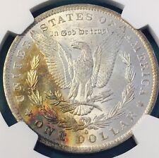 1884-O NGC $1 Morgan Silver Dollar RAINBOW TONING UNIQUE ORIGINAL SKIN MS62