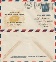 US 1929 DEDICATION OF St MARYS COLLEGE AIRPORT KANSAS FLOWN COVER