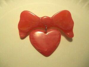 Bakelite Pin Carved Bakelite Heart & Bow Brooch Valentine's Day Pin Signed OOAK