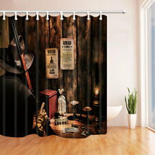 Rural Country Bar Suspect With Gun Bathroom Shower Curtain Fabric 71*71inch