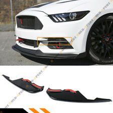 FOR 2015-17 FORD MUSTANG GLOSS BLACK FRONT BUMPER WINGLETS FOG LIGHT CANARD TRIM