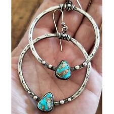 Retro Tibetan Silver Big Rings Earrings Turquoise Drop Dangle Ear Hook Jewelry