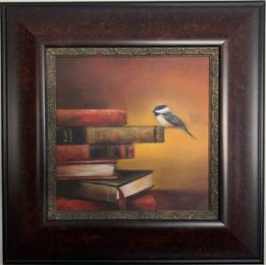 Framed oil painting, bird, books