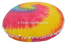 """Large Round Hand Tie Dyed Cushion Cover 32"""" Mandala Floor Cotton Pillow Case Art"""