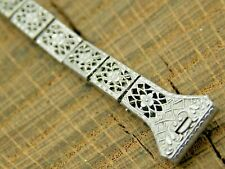 NOS Vintage Stainless Steel Watch Band Art Deco Filigree Expansion 11mm Ladies
