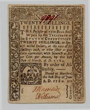 1780 Signed by Elisha Williams & J. Hamlin Twenty Shilling Ct Note