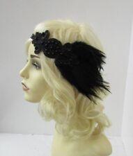 Black Beaded Feather Headpiece 1920s Headband Flapper Great Gatsby Vtg 30s 6620