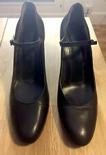 Roberto del Carlo Mary Jane Covered Heel Pumps Shoe Midnight Black Size 40.5
