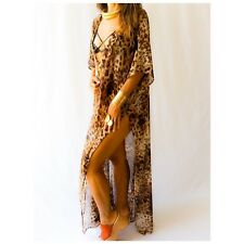 Leopard print beach cover up, sheer leopard cardigan, sheer leopard caftan