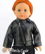 "Black Faux Leather Biker Motorcycle Jacket fits 18"" American Girl Size Boy Doll"