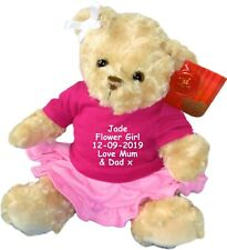 Personalised Teddy Bear Flower Girl Bridesmaid Embroidered Dressed Doll Gift
