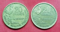 France 2 Coins , 20 Francs 1950 , 3 & 4 Feathers , Georges Guiraud & G Guiraud