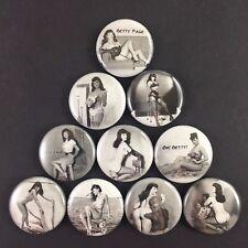 "Betty Page 1"" 10 PIN BUTTON lot Pin Up"