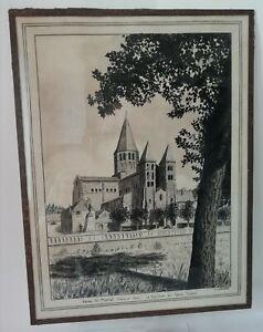 Dessin original Encre de Chine signé V. LANGARD La basilique Paray-Le-Monial XXe