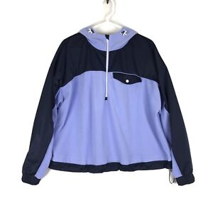 Athleta Womens Zion Microfleece Jacket Large 1/2 Zip Top Victorian Periwinkle