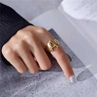 Fashion Letter A-Z Adjustable Men Women Ring Yellow Gold Luxury Wedding Jewelry