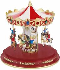 More details for christmas workshop red animated musical revolving carousel ornament + led lights