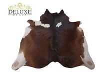 Large Cowhide Rug Brown White Hair on Cow Hide Animal Skin Exotic Area Rug