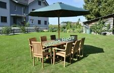 SOLID Teak Garden Furniture 8 Seat Oval Extending Table Set Assembled Chairs