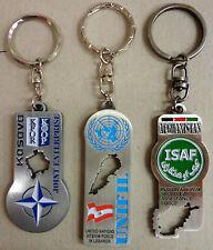 Set n.3 Portachiavi Commemorativi Missioni Militari K-FOR/ UNIFIL/ ISAF - Rarità