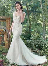 Maggie Sottero Wedding Dress Illusion, Mermaid, Trumpet, Lace, Bohemian, Size 10