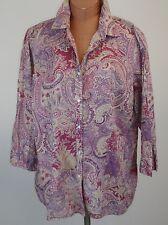 RALPH LAUREN Womens Plus Size Pink Paisley Lightweight Cotton Shirt 2XL