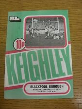 22/01/1978 Rugby League Programme: Keighley v Blackpool Borough  (Folded). Condi