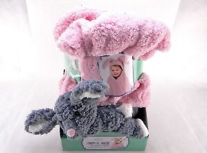 """Little Miracles Animal Hugs Rabbit Collection Hooded Blanket 30"""" x 36"""" Pink"""