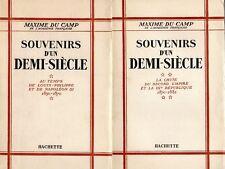 C1 Maxime DU CAMP Souvenirs d un DEMI SIECLE 1830 1882 COMPLET EN 2 TOMES