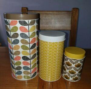 Orla Kiely Tall Storage Tins With Lids - Set Of Three - Stem Print.