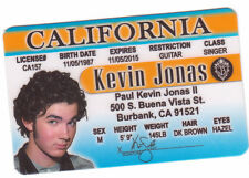 Kevin Jonas the Jonas Brothers Bros novelty collectors id card Drivers License