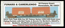 Funaro F&C 6910 BORDEN'S ABBOTT'S RENKEN'S SHEFFIELD Milk Tanks 52' Flatcar Kit