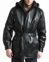 mens leather coat 3/4 length anorak parka hood belt zip out liner black brown