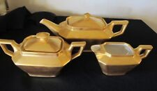 Limoges France VIGNAUD Art Deco Gold 3-Piece Tea Set Porcelain