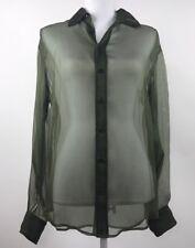 $698 RALPH LAUREN BLACK LABEL Sheer Silk Blouse Shirt Top - Sz 8 (M Medium)
