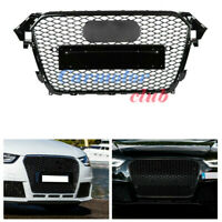 RS4 Style Front Bumper Hex Mesh Honeycomb Grill Grille For Audi A4 S4 B8.5 13-16
