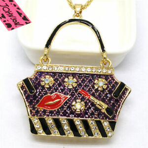 Hot Betsey Johnson Purple Enamel  Bag Lipstick Crystal Pendant China Necklace