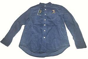 POLO RALPH LAUREN Snowboard Bear Corduroy Boys Holiday Navy Dress Shirt Sz M NWT
