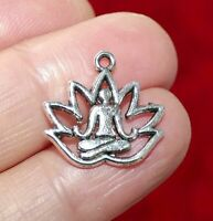 8x Lotus Flower Yoga Pendant Charms for Bracelet//Necklace Making Findings