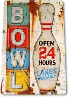 Bowl Open Sign Bowling Pins Alley Lanes Sports Rustic Tin Metal Decor Sign