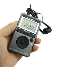 Pocket FM / AM 2 Band Radio mini Size Receiver Rechargeable Battery + Earphone