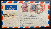 1949 India Airmail Cover to Foreign Mission New York USA Mixed Franking