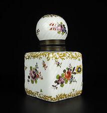 Elégant encrier floral porcelaine cuivre travail allemand c1900 Germany Inkwell