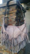 CUT N PASTE ~ Dara Fabulous Fringe Gray Leather Hobo Handbag BoHo BAG! EUC!